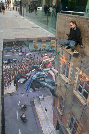 julian beever batman and robin sidewalk drawing