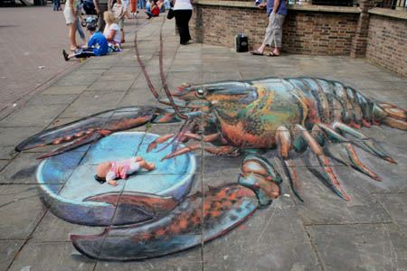 julian beever crab sidewalk drawing
