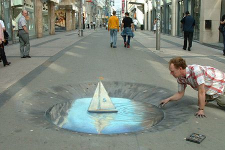 julian beever sailboat sidewalk drawing