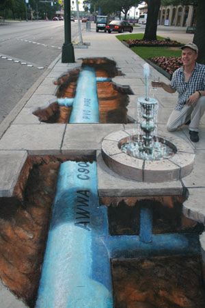 julian beever tunnel sidewalk drawing