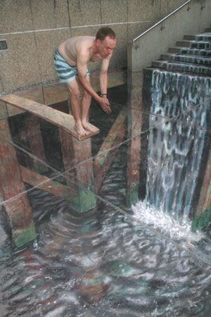 julian beever waterfall sidewalk drawing