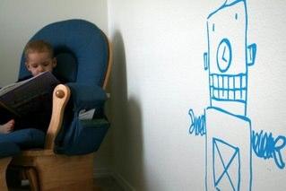 vinyl lettering wall art robot