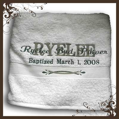 personalized embroidered baptism towel gifts