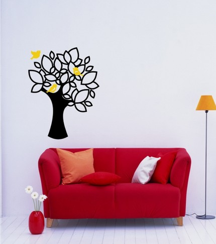 vinyl wall graphics art bird on a branch
