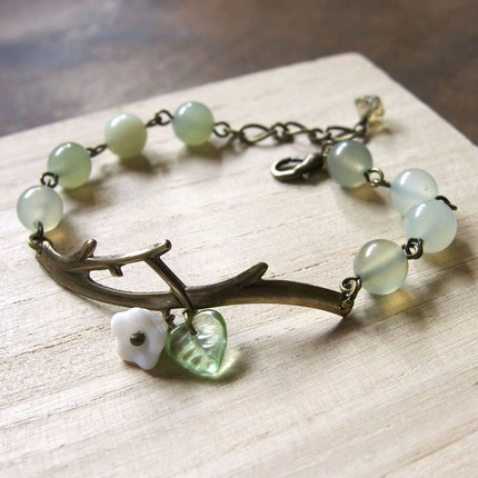 brass garden branch bracelet