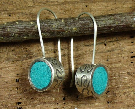 tinted concrete earrings handmade original art
