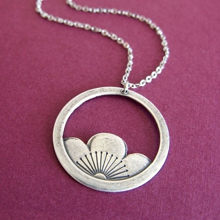 sterling lotus hoop necklace