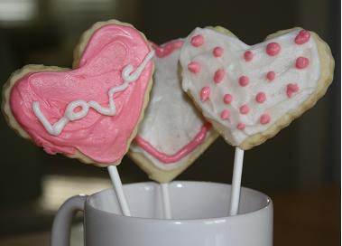 cookie pops conversation heart cookies