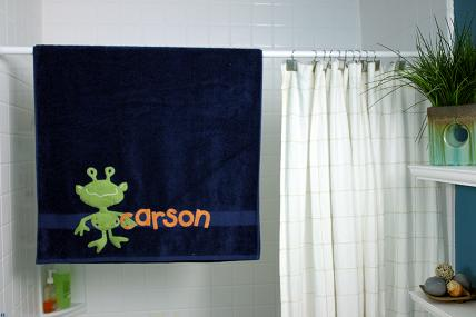 appliqued bath towel