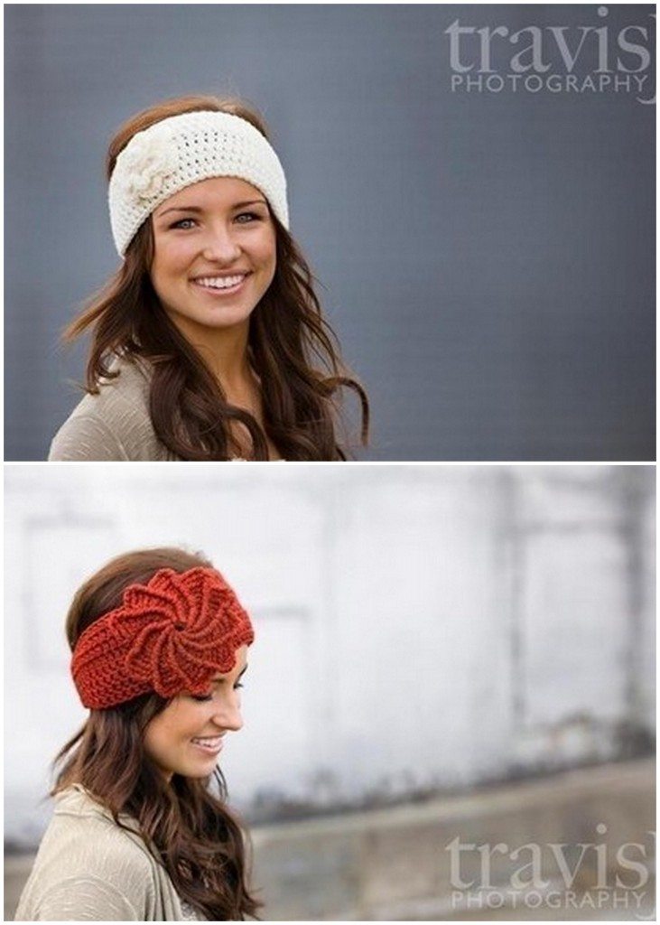 PDF PATTERN-Crochet Spiral Flower Headband / Earwarmer - Patterns