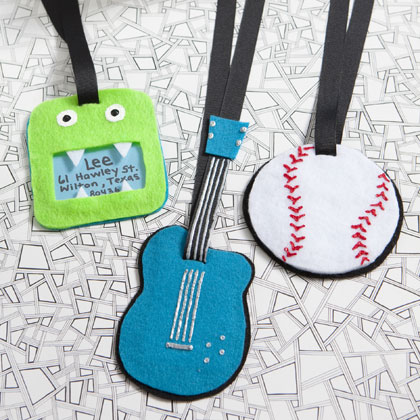 handmade kids luggage tags