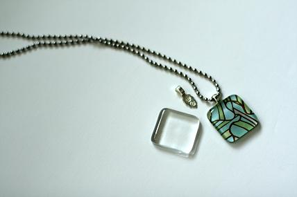 glass tile pendant necklace