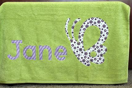 personalized applique bath towel