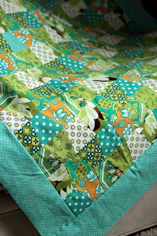michael miller sandi henserson ginger blossom quilt blues greens browns