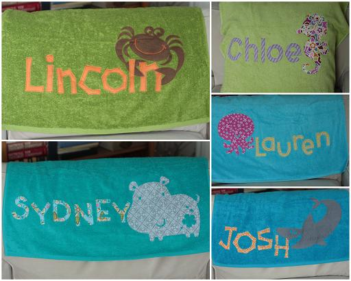 appliqued personalized bath towels