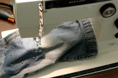 sewing holes in jeans