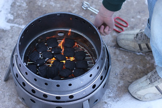 volcano grill with briquettes
