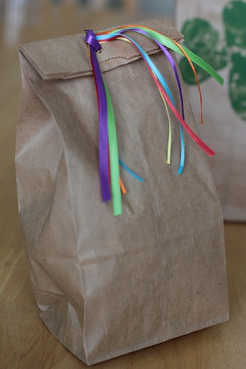 rainbow brown paper bag st. patricks day