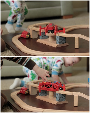 swivel bridge wooden toy train set