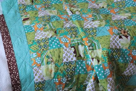 ginger blossom tumbler quilt michael miller brown binding