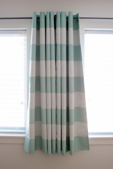 paint stripes onto curtain fabric