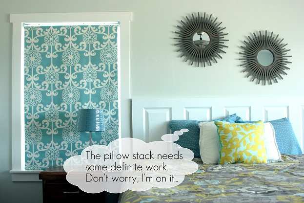 diy fabric roller shade and pillows
