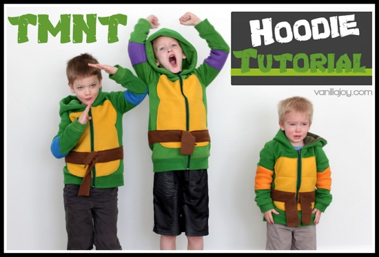 Tutorial diy ninja turtle hoodies vanilla joy diy ninja turtle kids sweatshirt solutioingenieria Image collections