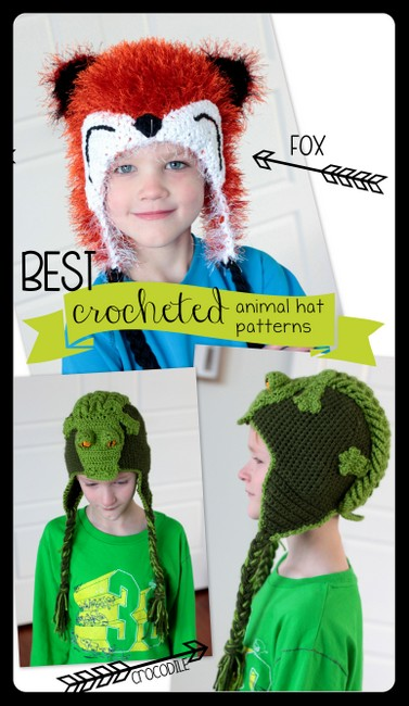 crocheted animal hat patterns etsy fox crocodile