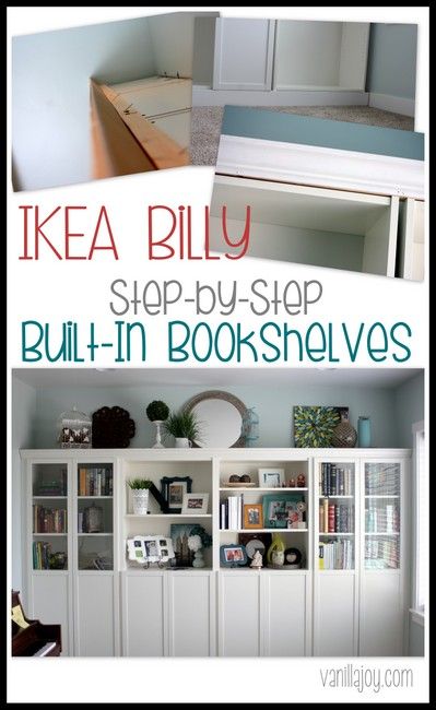 diy built in bookshelves ikea billy hack vanilla joy. Black Bedroom Furniture Sets. Home Design Ideas