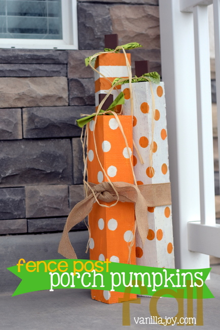 Thumbnail image for *TUTORIAL* DIY Fence Post Porch Pumpkins